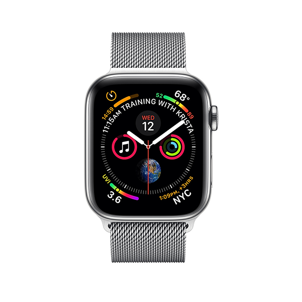Apple Watch Series 4 GPS + LTE 44mm, viền thép, dây Milanese Loop